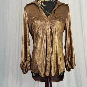 INC copper button down blouse L
